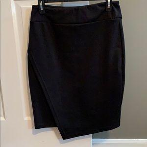 Black asymmetrical front skirt